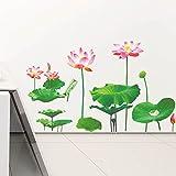 BIBITIME Green Leaves Lotus Flower Wall Decal Seed Bud Vinyl Sticker for Living Room Porch Bathroom Window Glass Door Couple Bedroom Kids Room Decor Art Mural DIY