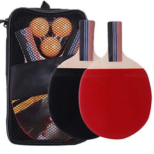 Buy Bargain DAZISEN Portable Table Tennis Rackets - 2 Table Tennis Paddles and 3 Balls, Pen-Hold Set...