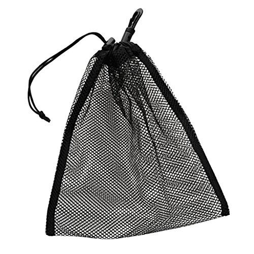 1 Pc de Portátil Bolsillo de Malla con Cierre de Cordón para Balones de Ping Pong Golf Tenis Squash Color Negro