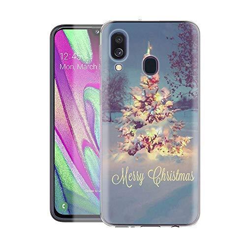 Yoedge Funda Samsung Galaxy A40, Cárcasa Silicona Transparente Navidad con Dibujos Antigolpes Nieve Ciervo de...
