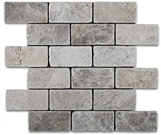 Silverado Gray 2X4 Marble Tumbled Mosaic Tile