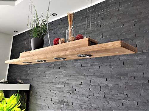 Deckenlampe Holz Hängelampe rustikal Led Vintage Set Leuchte Eiche Massiv 100,120,145cm GU10 (120cm)