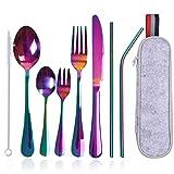 Orapink - Set di 9 posate portatili, da viaggio, da campeggio, in acciaio inox, set di posate con coltello, forchetta, cucchiaio, cannucce, spazzola per la pulizia, borsa portatile (colorata)