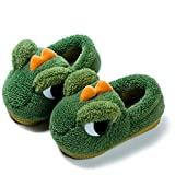 ESDY Boys Girls Toddler House Slippers,Kids Dinosaur Warm Fur Lined Cute Animal Winter Nonslip Indoor Slippers 1734 Green 170