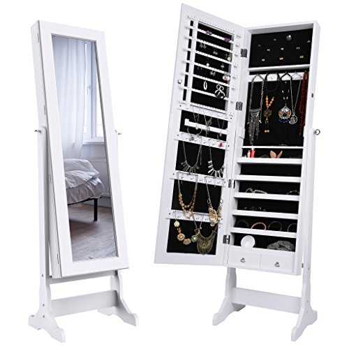 LANGRIA Mirrored Jewelry Cabinet Organizer, Full Length Standing Jewelry Storage...