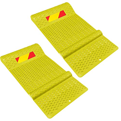 Electriduct Pair of Plastic Parking Mat Guides for Garage Vehicles, Antiskid Car Safety Park Aid - Yellow