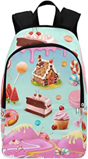 Confectionery Desserts Cake Cupcake Candy Lollipop Casual Daypack Travel Bag College School Backpack for Mens and Women