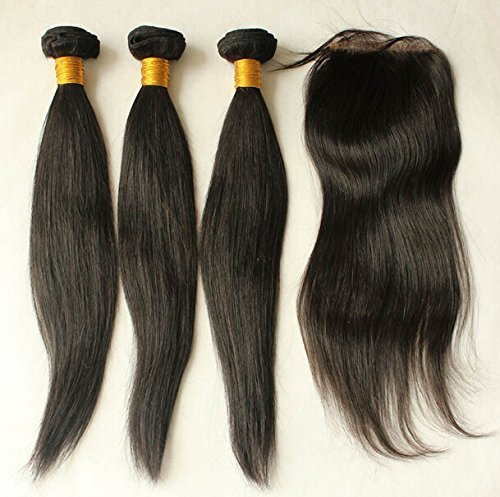 """Cheap 8A Free Part Lace Closure With Bundles Straight Chinese Virgin Hair Bundle Deals 3Bundles And Closure Natural Color 12""""closure+28""""28""""28""""weft"""