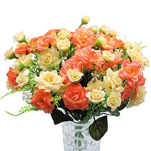 JaneYi 4 Stück Künstliche Rosenblüten Gefälschter Blumenstrauß Künstliche Seidenblumen Pflanzen Blumengesteck für DIY Draußen Haus Küche Tabelle Garten Büro Hochzeit Party Dekor - Rot und Champagner