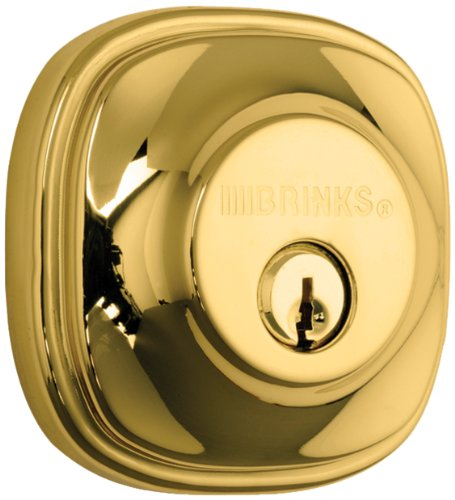 Brinks Push Pull Rotate Door Locks Alwood Passage Hall/Closet Lever and Deadbolt Combo Pack, Polished Brass, 23092-105
