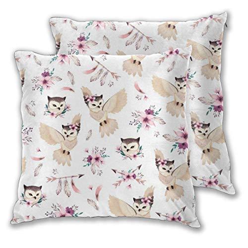 Bohoo - Fundas de Almohada cuadradas con diseño de búho para sofá, Cama, Coche, Fundas de cojín Decorativas, Paquete de 2
