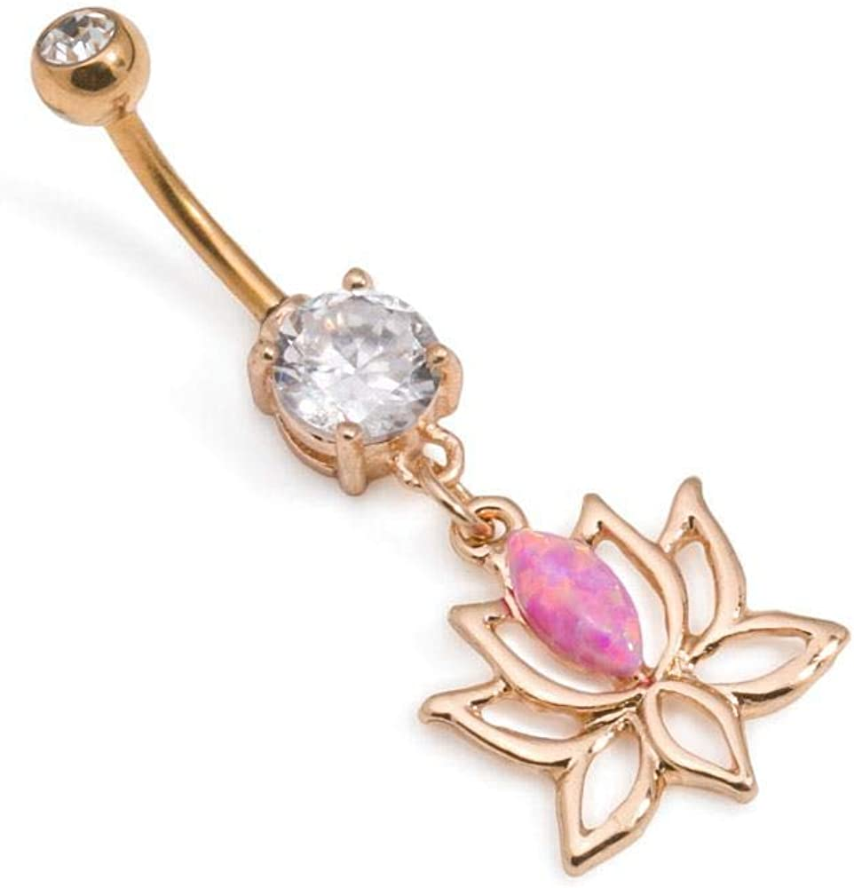 """Painful Pleasures Externally Threaded 14g 3/8"""" Gold-Plated Stainless Steel Belly Button Jewelry with Dangling Lotus Flower Charm and Pink Opal — Brass Casting and Gold PVD Coating"""