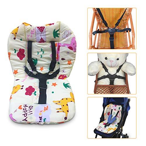 Coussin de chaise haute et sangles, coussin de chaise haute, coussin de chaise haute pour bébé, housse de coussin et housse de coussin pour chaise haute 5 points de harnais (girafe)