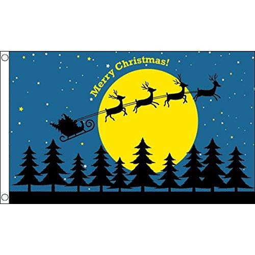 AZ FLAG Flagge FRÖHLICHE Weihnachten MIT MOND 150x90cm - WEIHNACHTSFEST Fahne 90 x 150 cm - flaggen Top Qualität