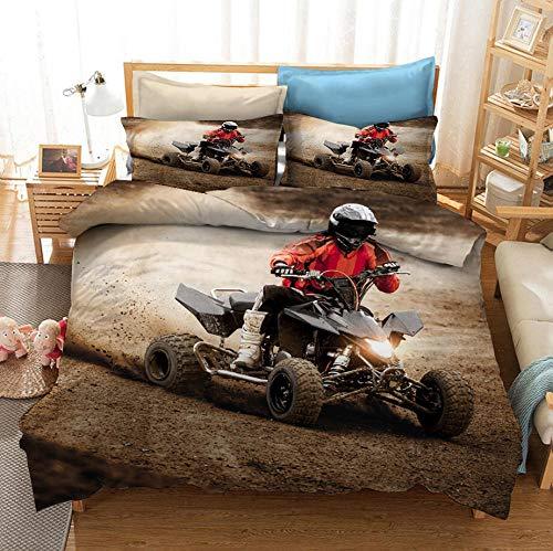 NHBTGH Funda nórdica Estampada Motocross 240x220 cm Conjunto de Ropa de Cama de Poliéster de 3 Piezas + 2 Fundas De Almohada, para Todo el Mundo Adultos y Adolescentes