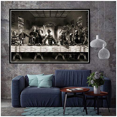 chtshjdtb Freddy vs Jason Horror Movie Art Leinwand Gemälde Das letzte Abendmahl Charakter Poster Bild für Wohnzimmer Home Decor -100x70cm No Frame