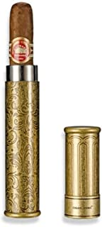 RongAi Chen Cigar Tube, Portable Single Cigar Moisturizing Tube, Beautiful Fashion Metal Cigar Tube, Black/Ancient Silver/Bronze, High Quality (Color : Bronze)