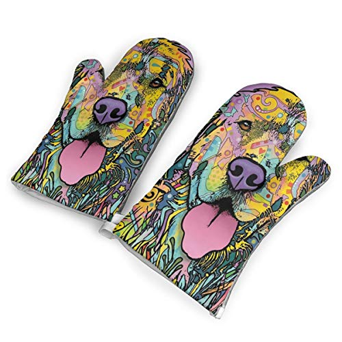 TRENDCAT Golden Retriever Oven Mitts/Gloves - Heat Resistant Handle Hot Oven/Cooking Items Safely - Soft Insulated Deep Pockets Pack of 2 Mitts