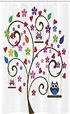 ABAKUHAUS Eulen Schmaler Duschvorhang, Baum blüht spielerische Vögel, Badezimmer Deko Set aus Stoff mit Haken, 120 x 180 cm, Mehrfarbig
