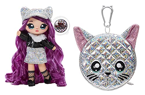 Na! Na! Na! Surprise Moda 2-en-1 Serie Glam-Coleccionable-Muñeca con pelo morado, vestido negro y plateado y bolso con forma de gato-Chrissy Diamond 575344C3