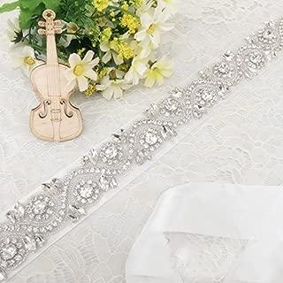 Trlyc Lovely White/Ivory Pearls Wedding Dress Belt, Beaded Bridal Sash Organza Ribbon