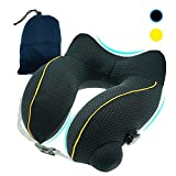 Inflatable Travel Pillow Lightweight Cool Fabric, Neck Pillow for Airplane Train Bus Car Office Adults Kids Travel Sleeping with Portable Carrying Bag