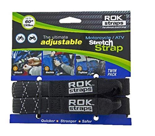 2 Pair ROK Straps ROK-10358-2PR Black//Reflective 12-42 Adjustable Stretch Strap