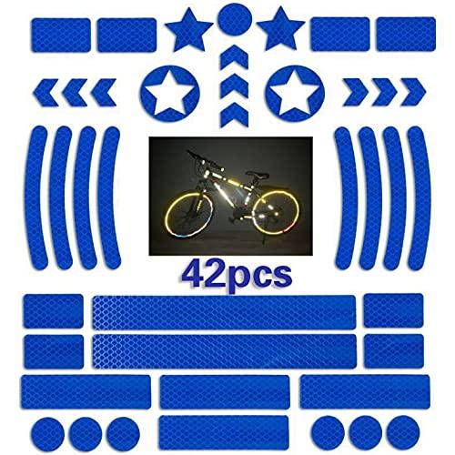 Vnice 42 Pezzi Catarifrangente per Bicicletta, Adesivo Impermeabile Catarifrangente Kit Nastro Riflettente Adesivo per Bicicletta Alta visibilità e Sicurezza della Bici Notturna(Blu)