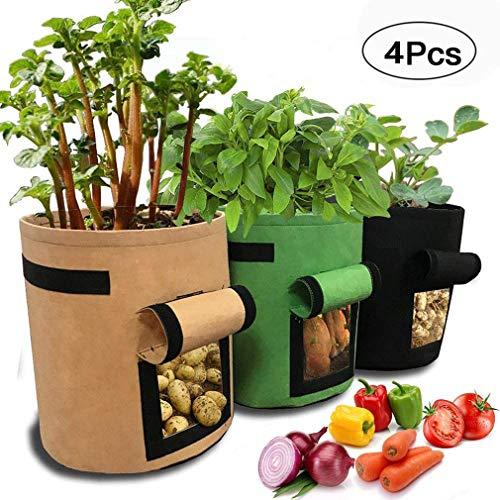 4-pack Aardappelkweekzak, Dubbellaags Premium Ademend Non-woven Doek Groenten Plantenteeltzakken, Duurzame Planterzakken