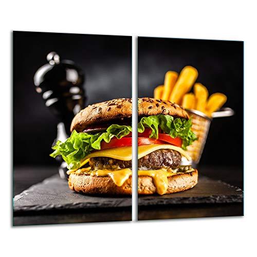 TMK | Herdabdeckplatten ceranfeld 2 Teilig 30x52 cm | Ceranfeldabdeckung Küche Elektroherd Induktion | Herdschutz Spritzschutz | Glasplatte Schneidebrett | motiv Hamburger