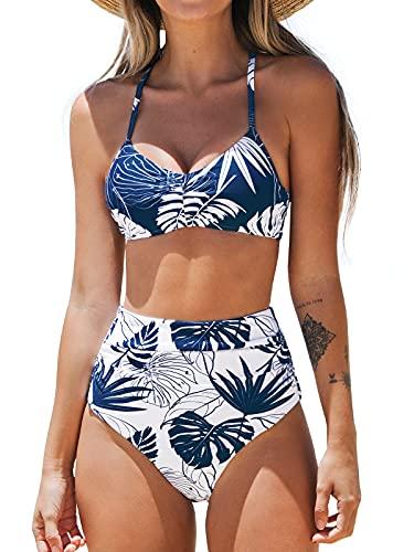 CUPSHE Femme Bikini Froncé Encolure Dégagée Ensemble Bikini Taille Haute Dos à Lacets Maillots de Bain 2 Pièces Bleu L