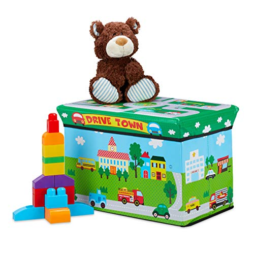 Relaxdays Spielzeugkiste faltbar, Drive Town, Aufbewahrungsbox m. Stauraum & Deckel, gepolstert, HBT 34x49x31 cm, grün, 1 Stück