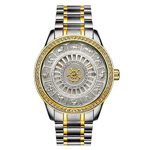 WXZQ Incrustaciones de Diamantes Casual mecánico automático para Hombres Calendario Impermeable Reloj Retro Reloj Resistente Dorado Blanco