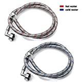 AMI PARTS Washing Machine Hoses with 90-Degree Elbows 4Ft Long Stainless Steel No-Lead Burst Proof 4-Foot Pair Hot and...
