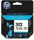 HP 302 cartouche d'entre Trois Couleurs (Cyan, Magenta, Jaune) Authentique (F6U65AE) pour imprimantes HP DeskJet, HP ENVY et HP OfficeJet