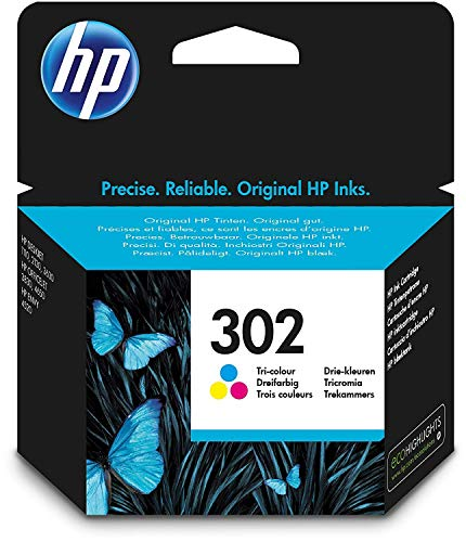 HP 302 F6U65AE cartouche d'encre trois couleurs authentique pour HP DeskJet 2130/3630 et HP OfficeJet 3830, Cyan,Magenta, Jaune