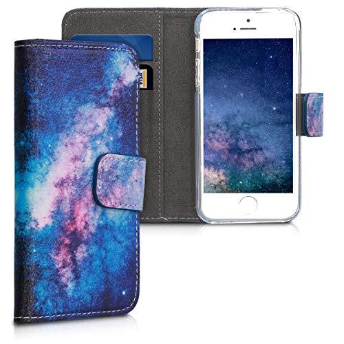 kwmobile Hülle kompatibel mit Apple iPhone SE (1.Gen 2016) / 5 / 5S - Kunstleder Wallet Case mit Kartenfächern Stand Galaxie Sterne Rosa Pink Dunkelblau