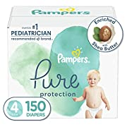 Diapers Size 4, 150 Count - Pampers Pure Protection Disposable Baby Diapers, Hypoallergenic and Unscented Protection, ONE MONTH SUPPLY (Packaging May Vary)