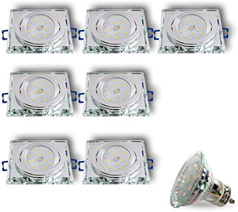 LED Einbaustrahler aus Glas Spiegel Klar CRISTAL-S Eckig Schwenkbar Inkl. 7 x 4W LED Warmweiss 230V IP20 LED Deckenstrahler Deckeneinbaustrahler Einbauspot Deckeneinbauleuchte Deckenspot Clear