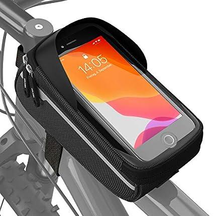 Velmia Bolsa Impermeable para Cuadro - Soporte de móvil para Bicicleta, Ideal para navegación - Funda para Manillar, Funda de móvil para Bicicleta, Accesorios para Bicicleta