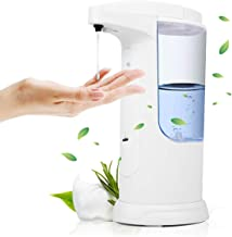 FoolHome Automatic Soap Dispenser Touchless Liquid Soap Pump White Adjustable 370ML Electric Hand-Free Liquid Dish Soap Dispensers for Kitchen& Bathroom