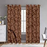 ScottDecor 38' W x 72' L Coffee Blackout Curtains for Nursery Cup of Espresso Silhouettes