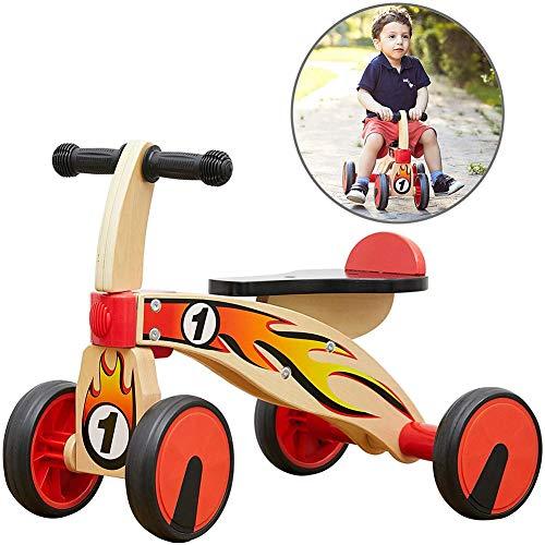 AFF Bébé vélos en Bois vélo d'équilibre bébé Marcheur vélo Tout-Petits Premier Trike avec 4 Roues pour Les Enfants Monter