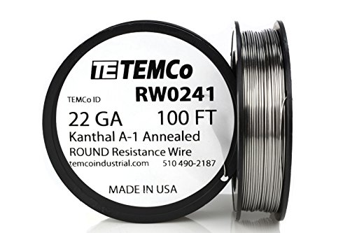 TEMCo Kanthal A1 wire 22 Gauge 100 Ft Resistance AWG A-1 ga