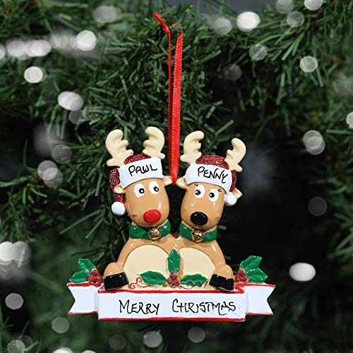 Personalised Hand Crafted Custom New Reindeer Family Christmas Tree Decorations Xmas Bauble Ornaments Family of 2,3,4,5,6,7 or 8