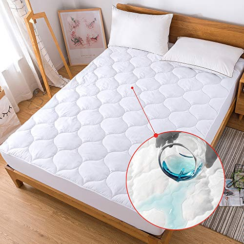 Decroom Waterproof Mattress Pad Breathable Quilted Fitted Sheet Mattress Protector Cover, Queen