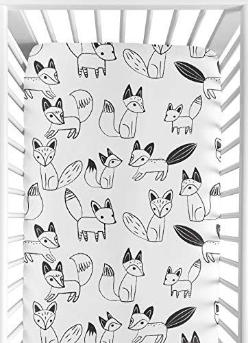 Fitted Crib Sheet for Black and White Fox Collection Baby/Toddler Bedding Set Collection