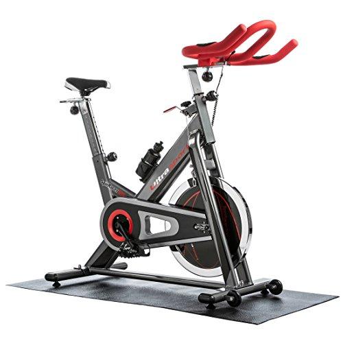 Ultrasport Premium Indoor SpinRacer 500 Cyclette Fitness con Sensori da Polso, Inclusa Bottiglia e Tappetino Multifunzione