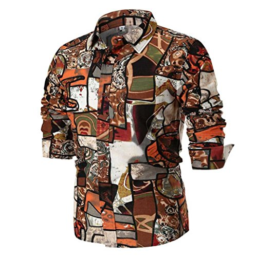 MRULIC Herren Shirt Kentkragen Langarm Shirts Businesshemd Freizeithemd Oktoberfest Karnevals kostüm(C-Braun,EU-48/CN-XL)