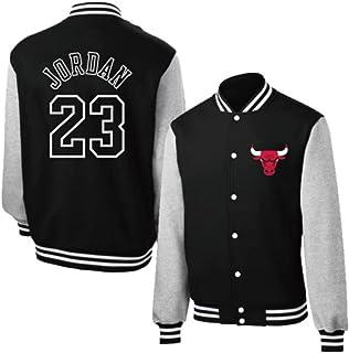 Chicago Bulls 23# Heren en Dames Klassiek Retro Baseball Shirt Plus Fluwelen Basketbal Jersey Jacket Jacket black-S